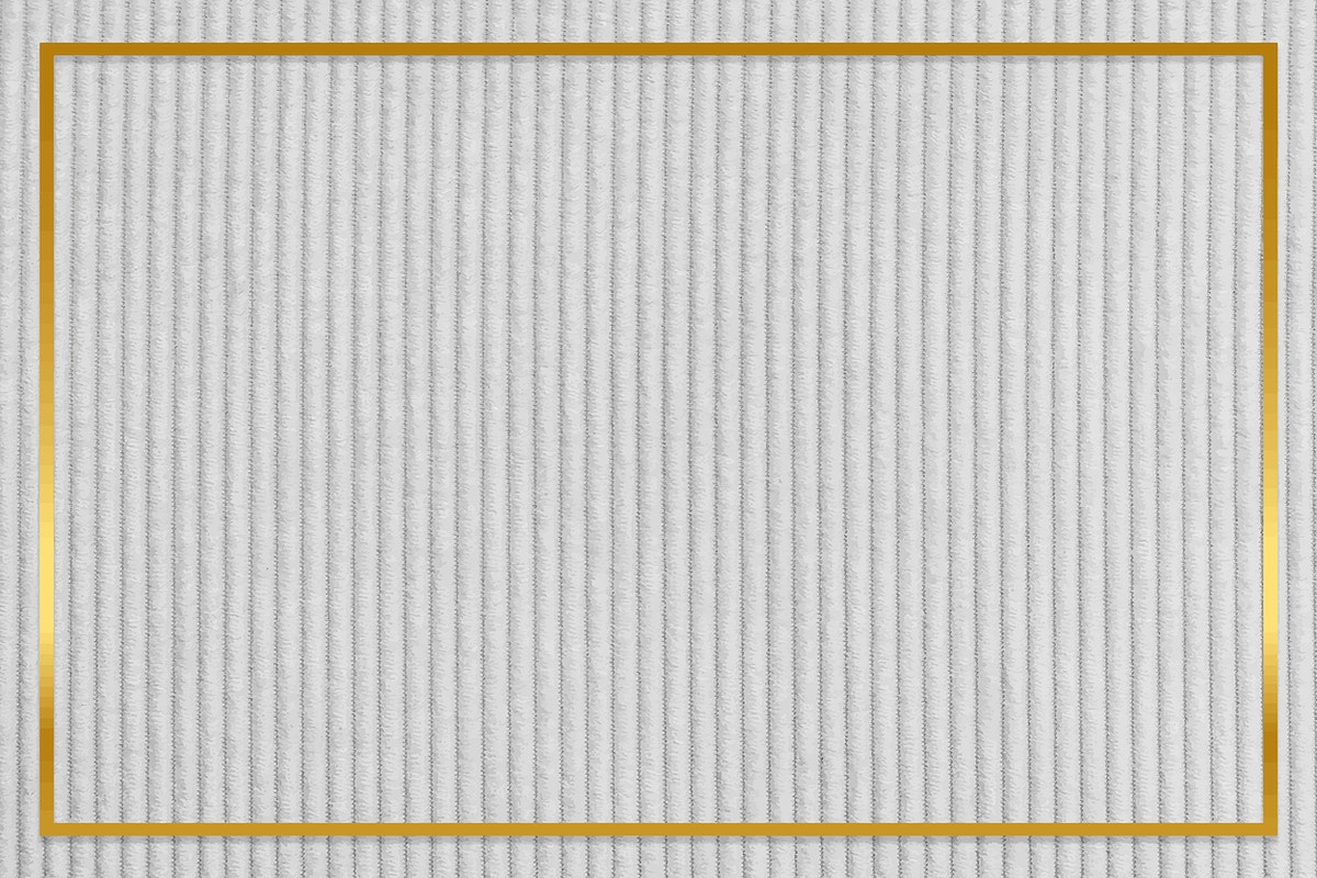 Gold frame on gray corduroy textured background vector