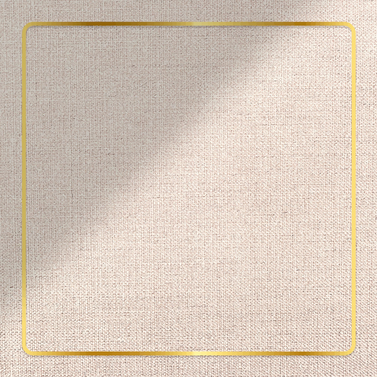 Gold frame on brown fabric textured background vector