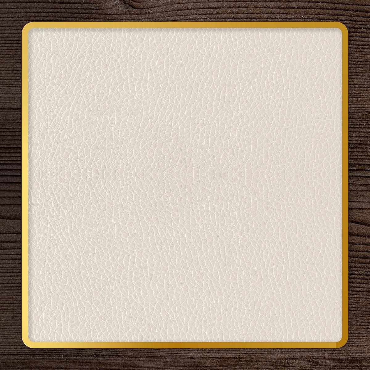 Gold frame on beige leather background template illustration