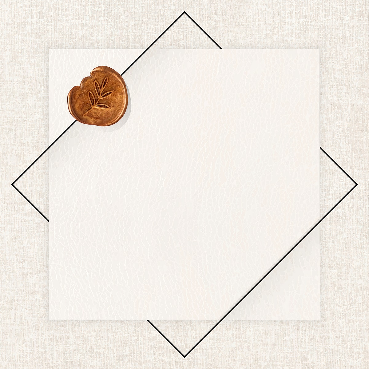Beige card on fabric textured background vector