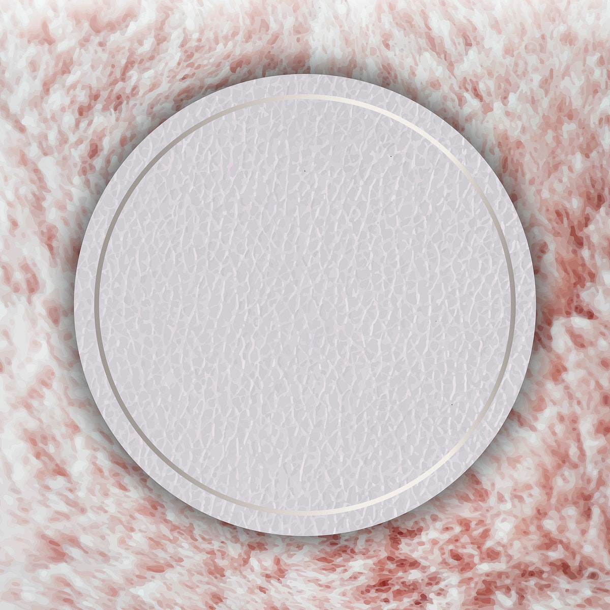 Round silver frame on a pink fluffy background vector