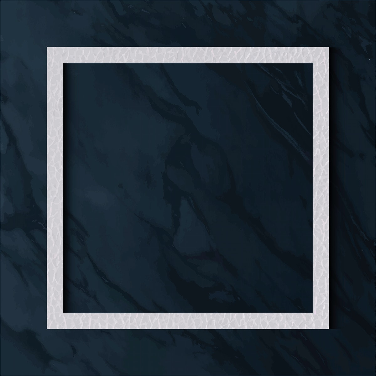 White leather frame on blue marble texture background vector