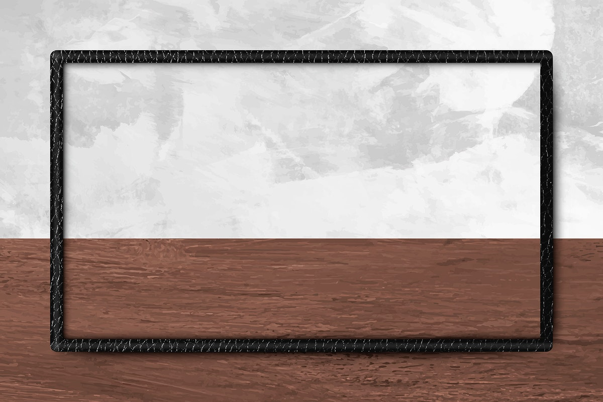 Black leather frame on gray concrete textured mobile screen template vector