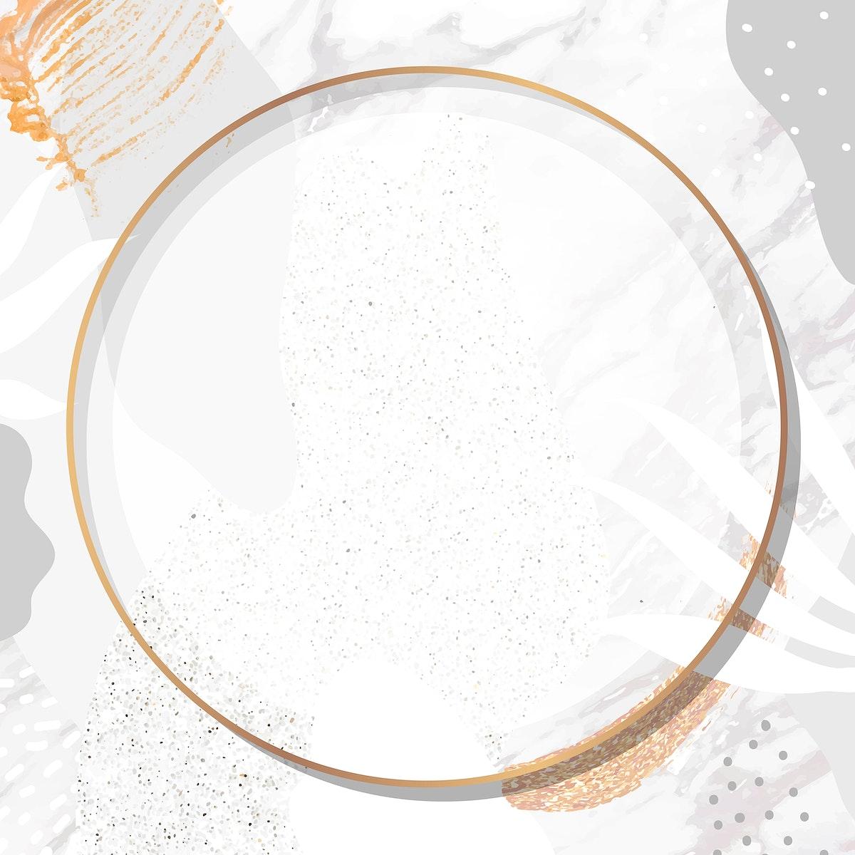 Round gold frame on botanical Memphis pattern background vector