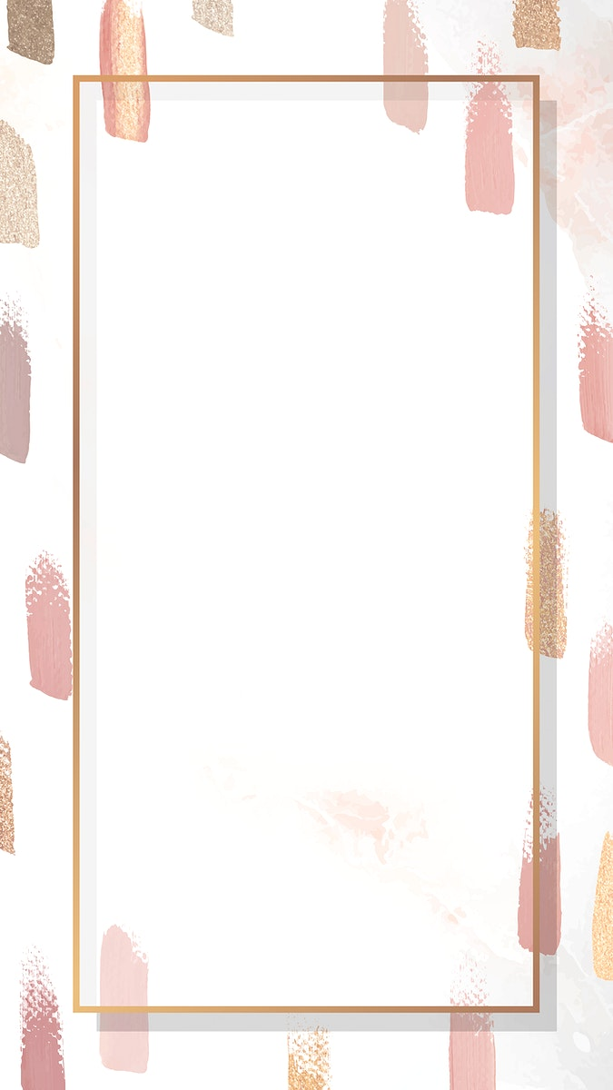 Rectangle gold frame with paintbrush textured mobile phone wallpaper vector
