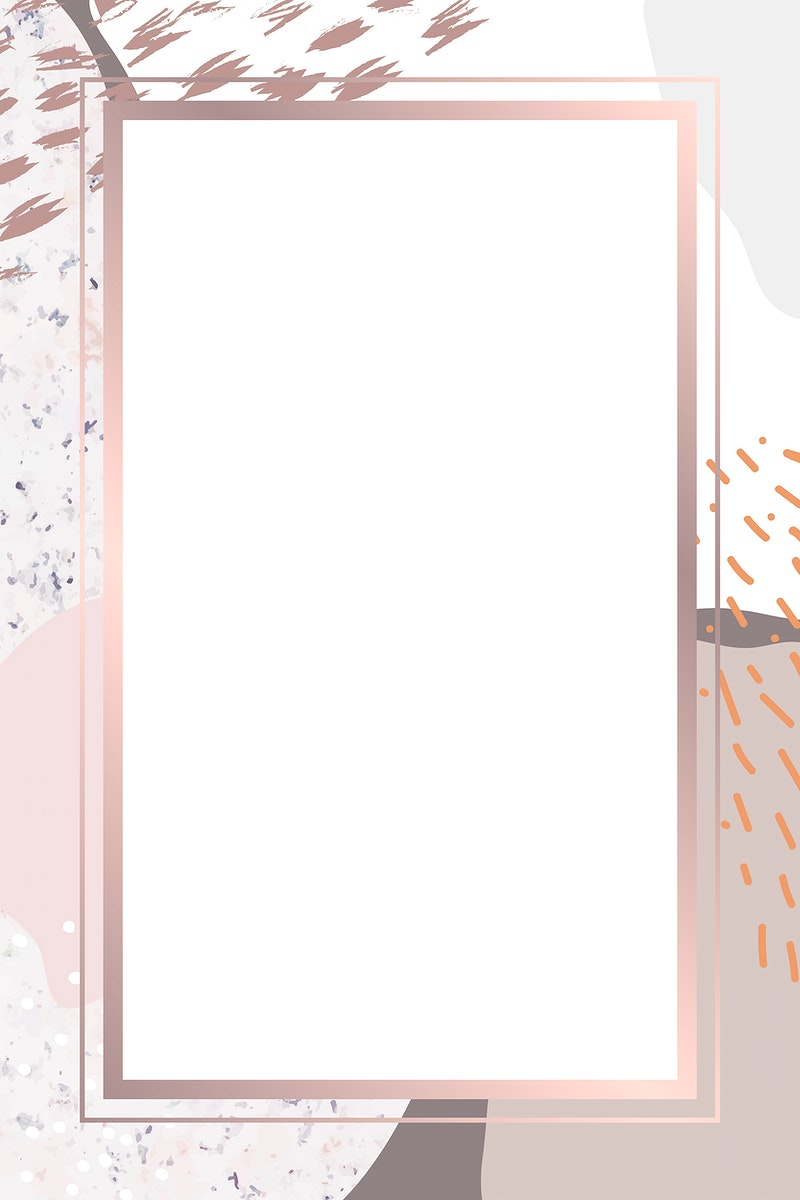 Rectangle pink frame on botanical Memphis pattern background vector
