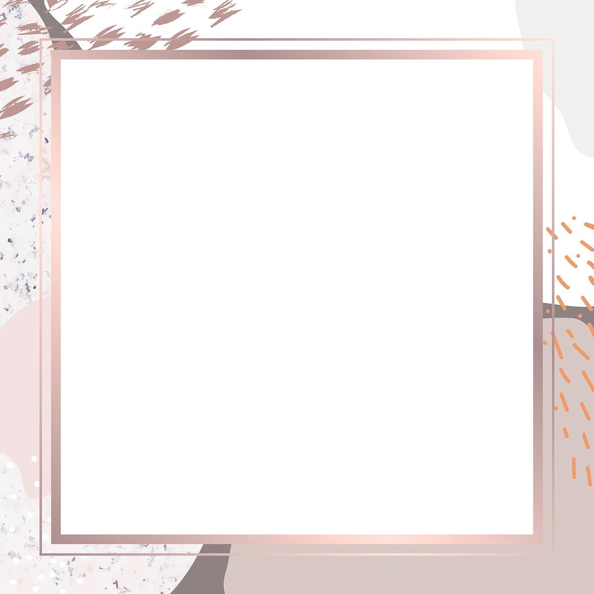 Square pink frame on botanical Memphis pattern background vector