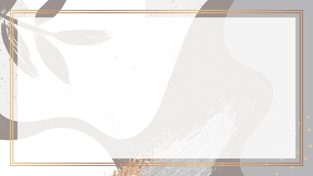 Rectangle gold frame on botanical Memphis pattern background vector