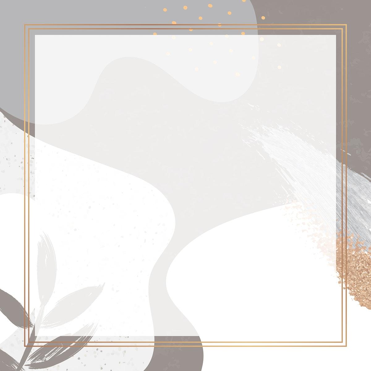 Square gold frame on botanical Memphis pattern background vector