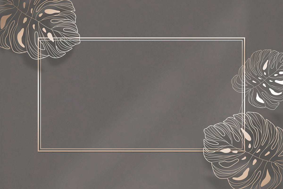 Gold frame with monstera leaf pattern background vector