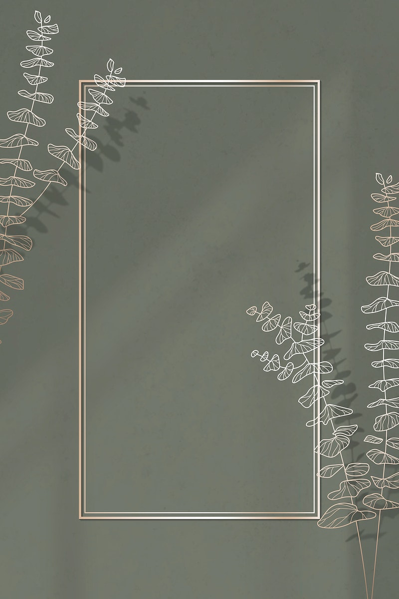 Gold frame with leaf pattern vector