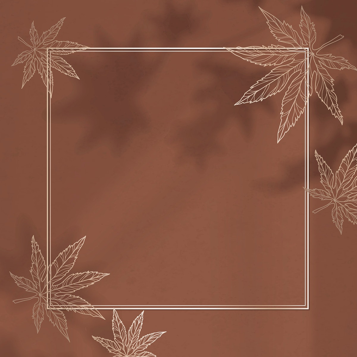 Gold frame with maple leaf pattern vector