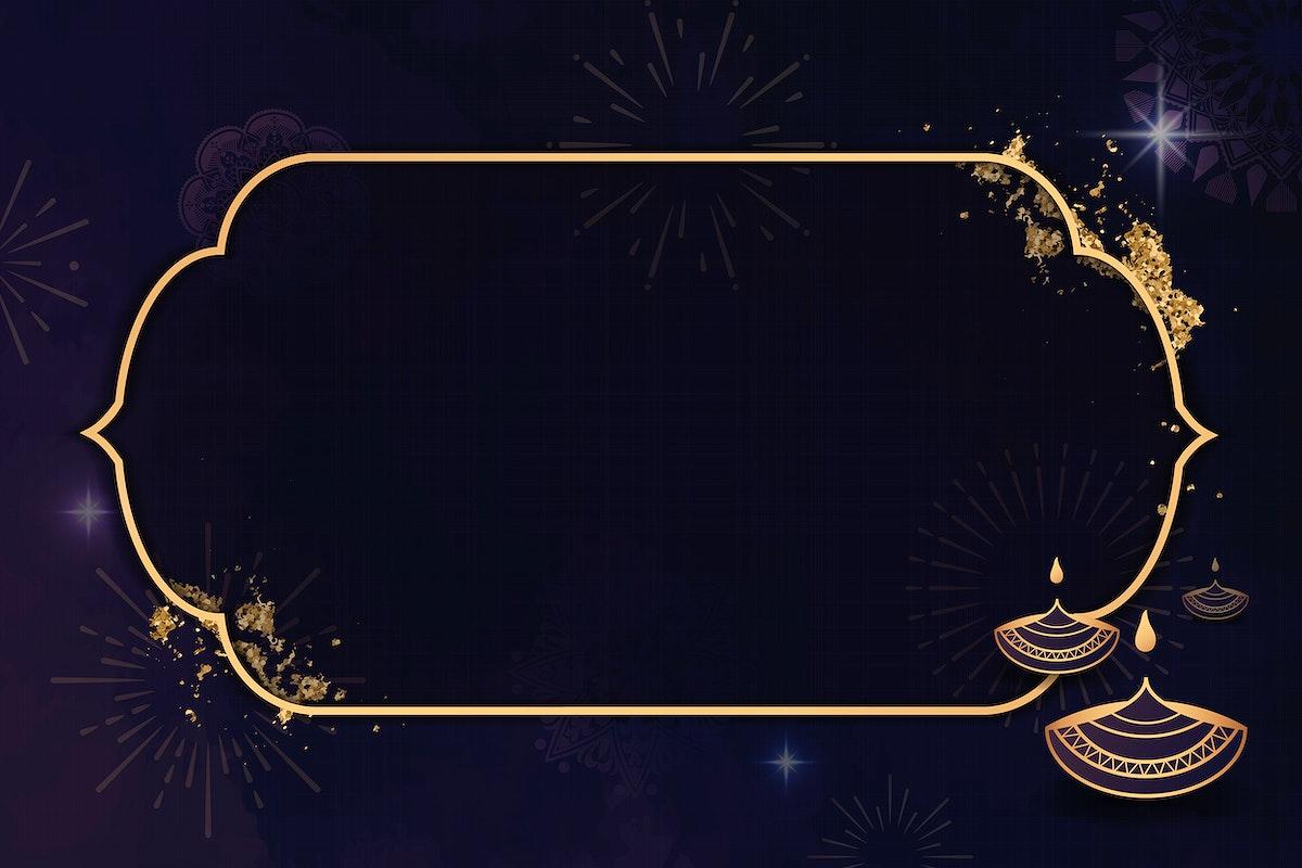 Gold frame on Diwali pattern background vector