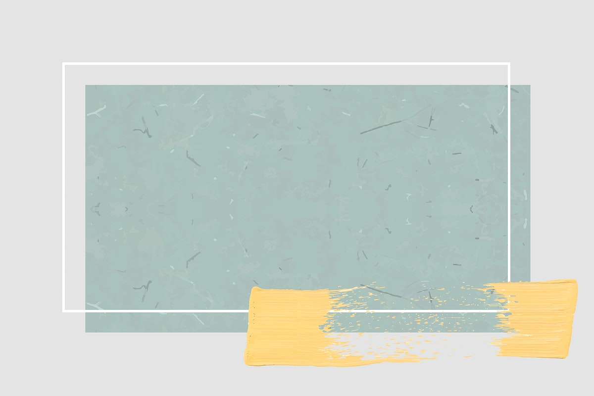 White frame with a yellow brushstroke on cyan marble background vector