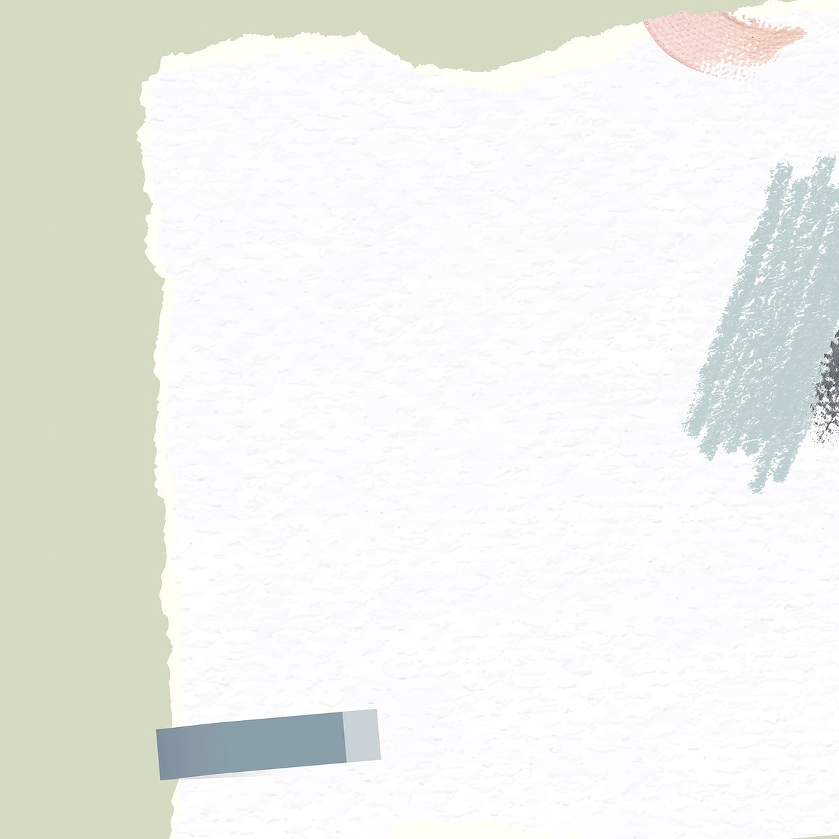 White ripped paper on green background vector