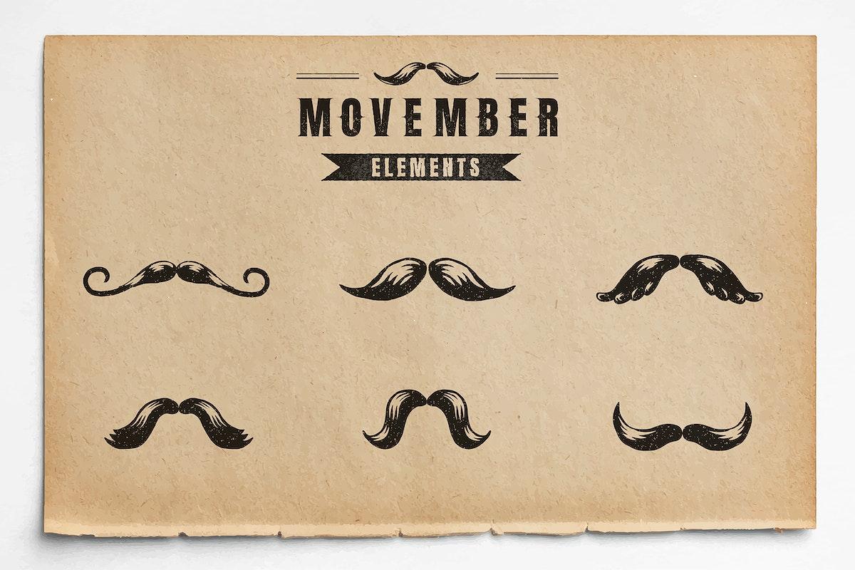 Movember badge design vector set