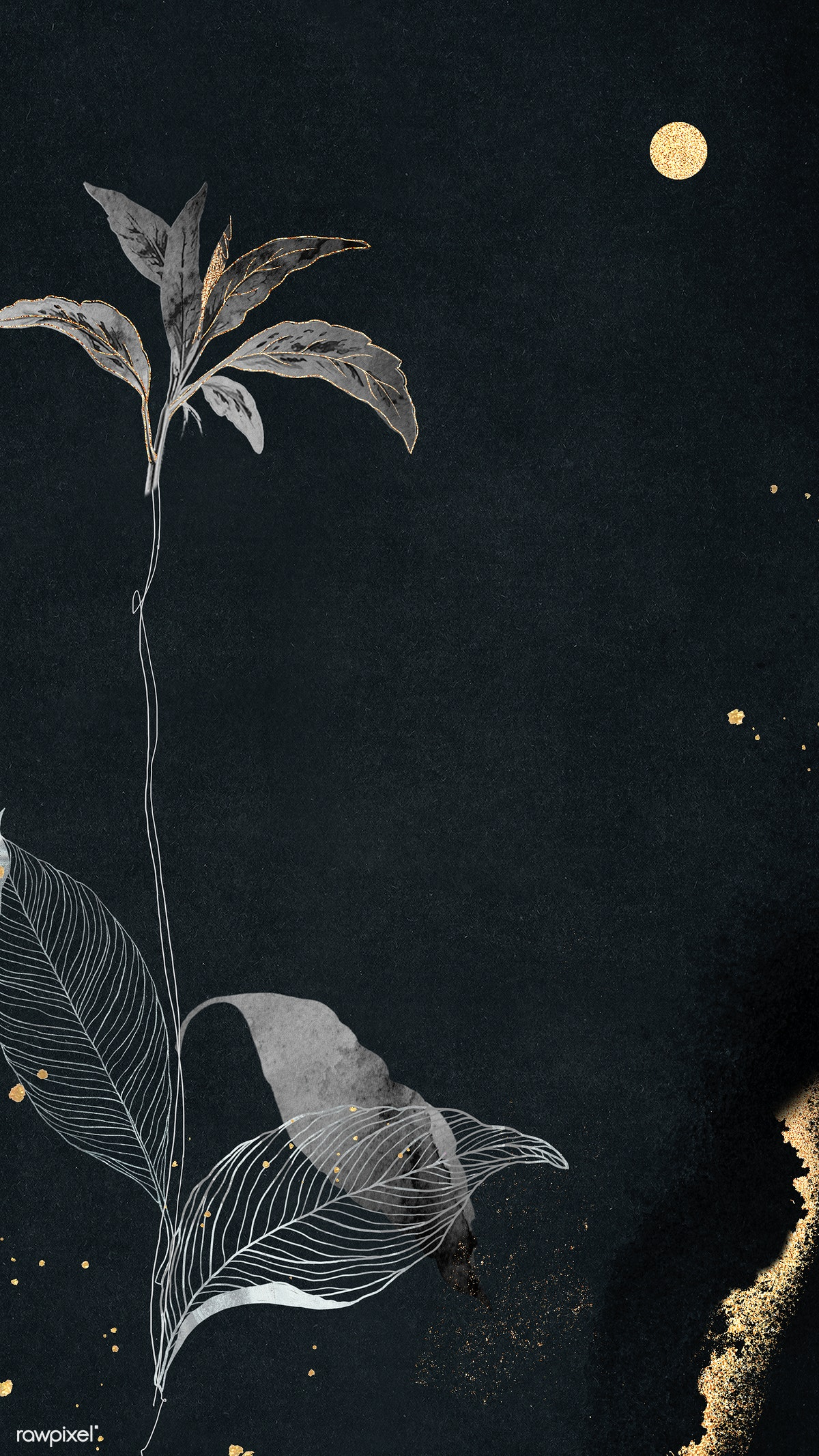 Download Premium Illustration Of Detailed Botanical Gold Leaf Mobile Phone
