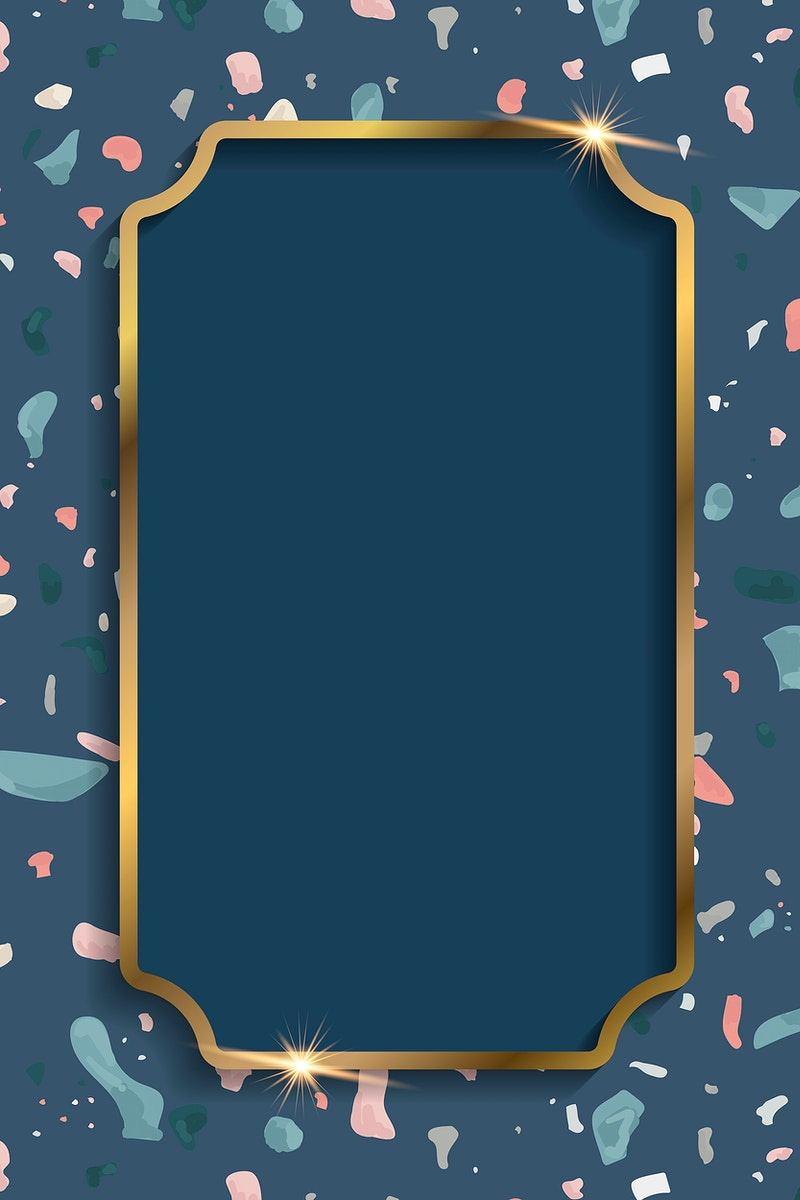 Gold frame on Terrazzo pattern background vector