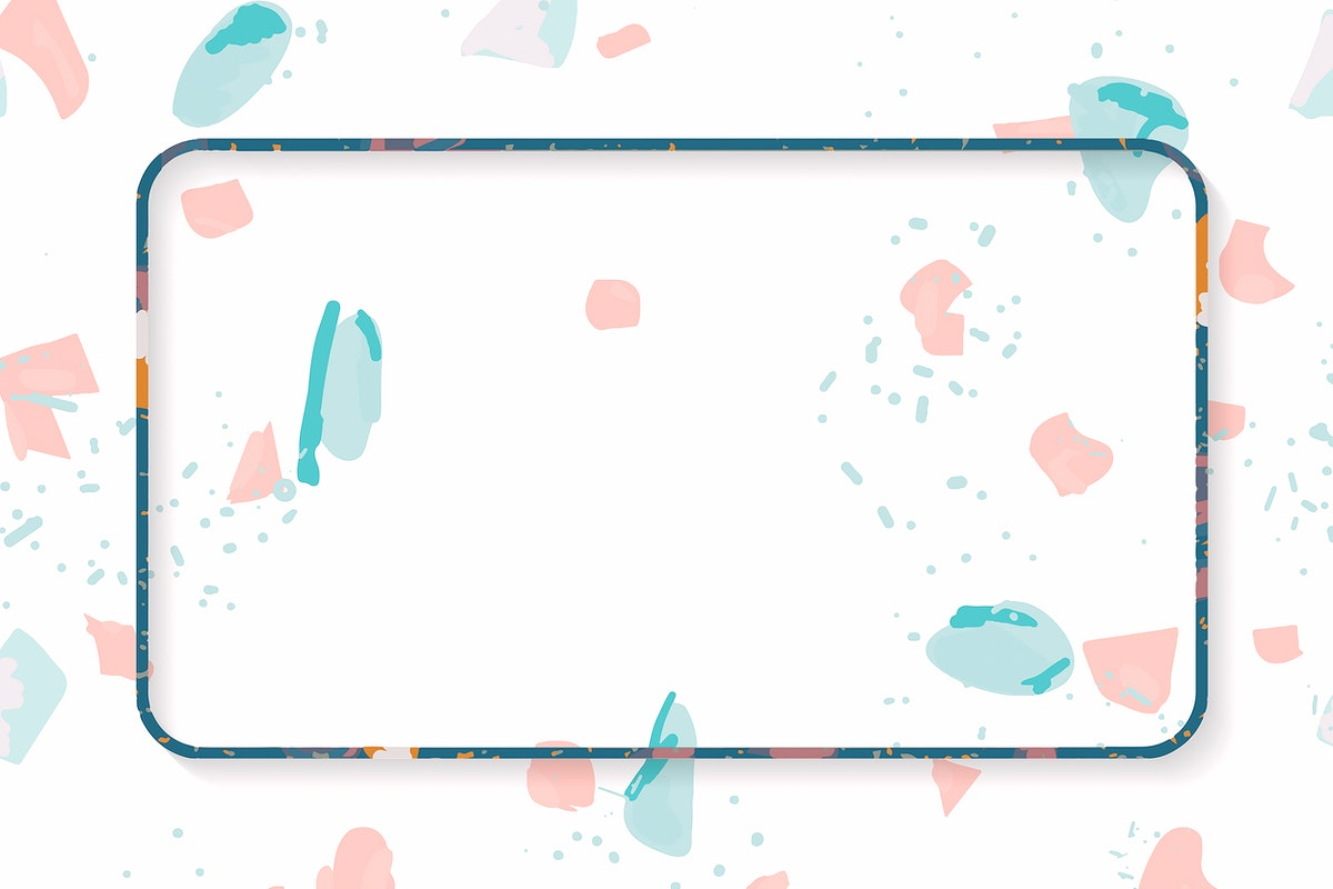 Blue frame on Terrazzo pattern background vector