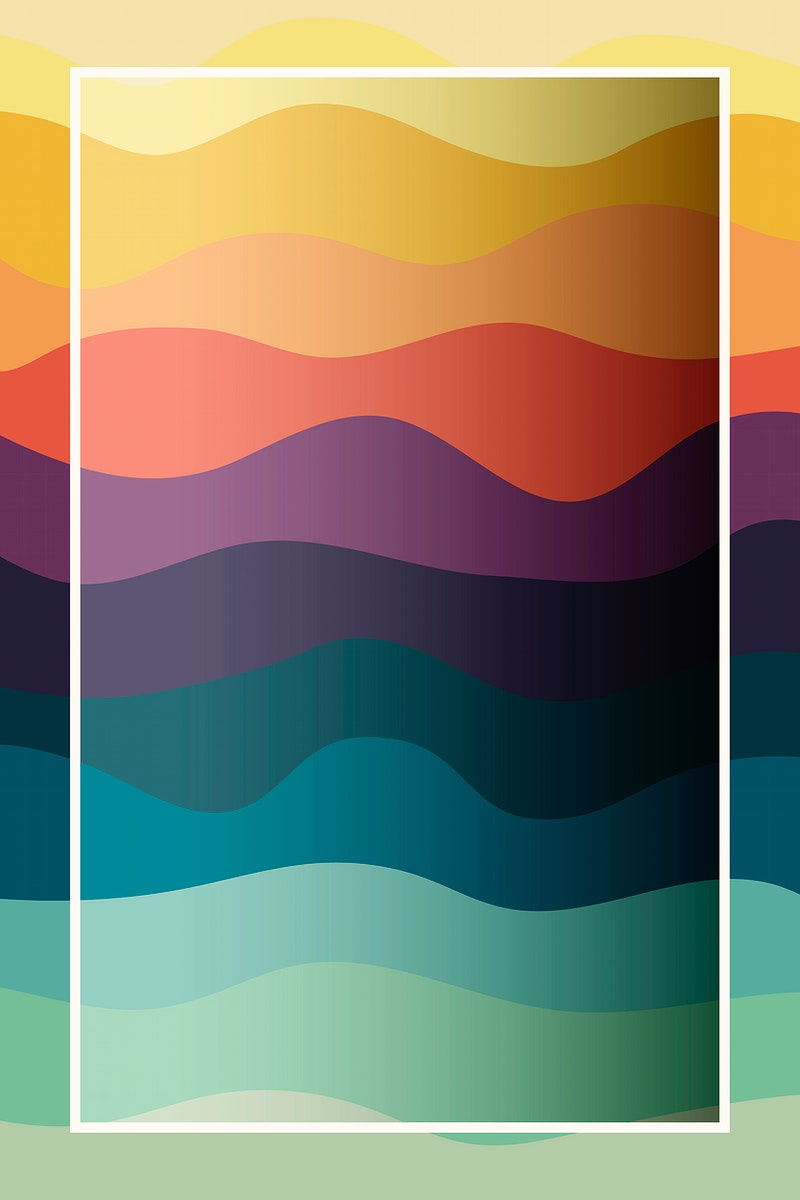 White frame colorful wave pattern background vector