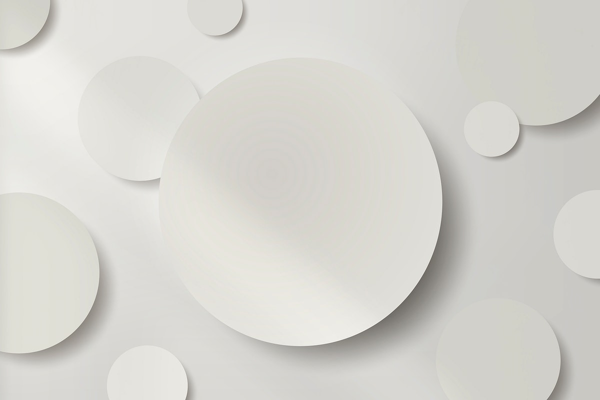White round paper cut with drop shadow pattern background vector