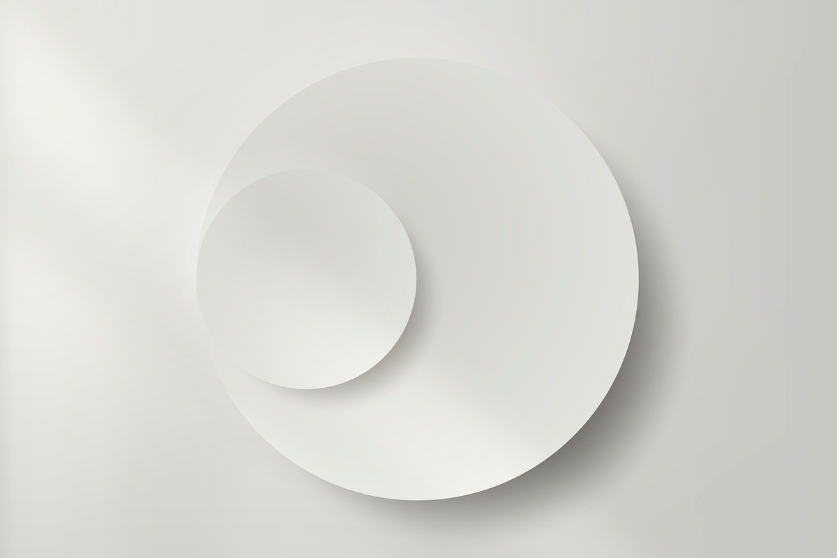 White round paper cut with drop shadow vector