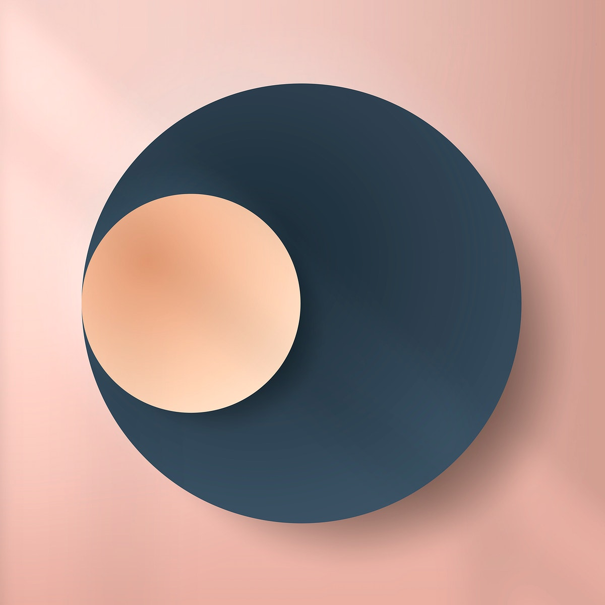 Colorful round paper cut with drop shadow on pale pink pattern background vector