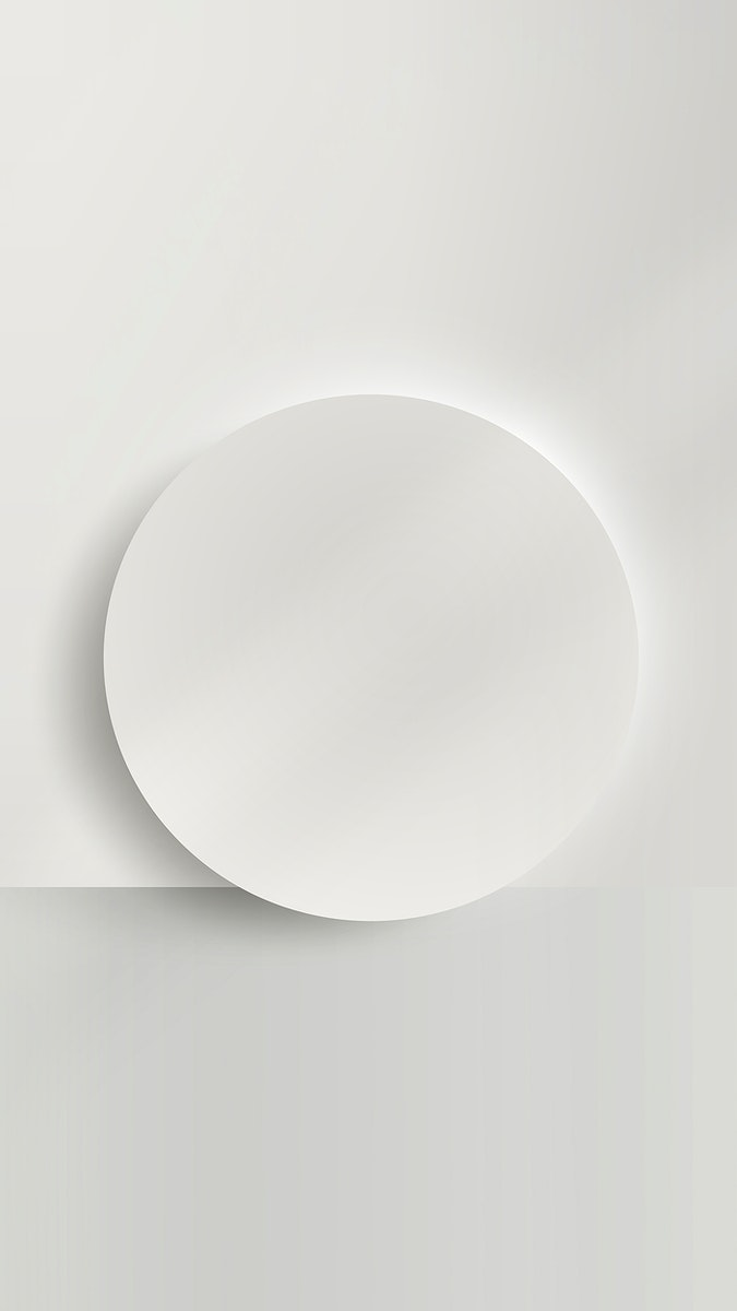 White round paper cut with drop shadow mobile phone wallpaper vector