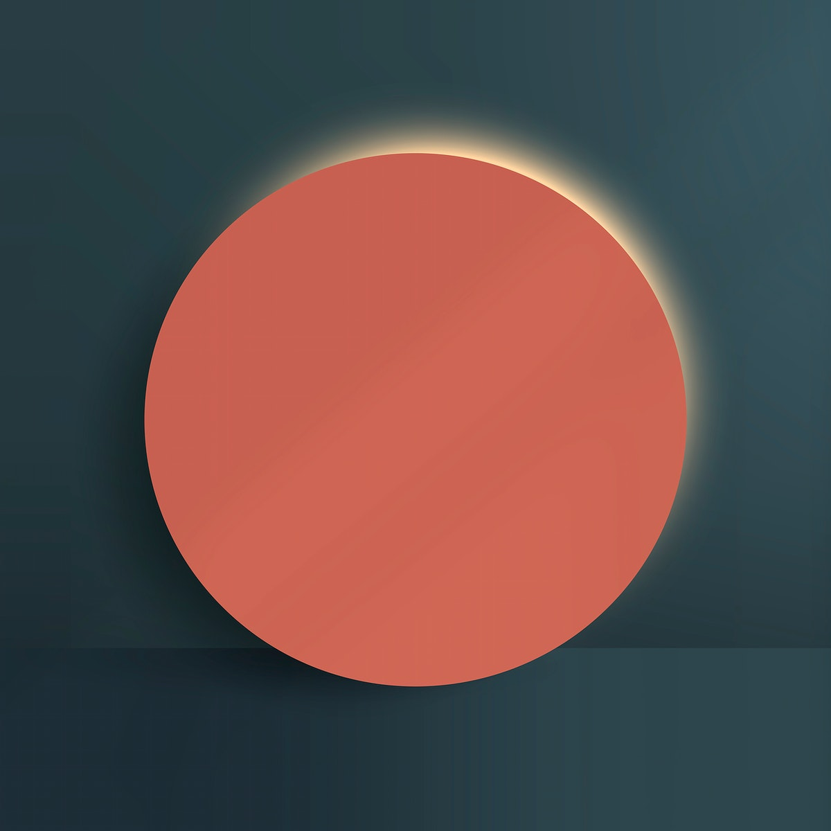 Orange round paper cut with shadow on blue background vector