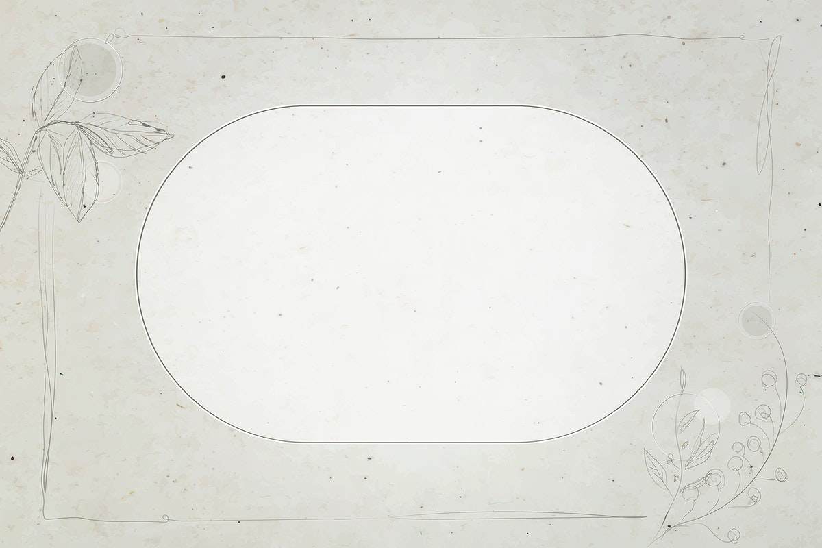 Gray floral oval frame vector