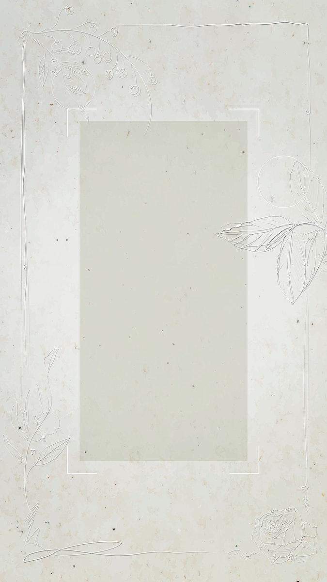 Gray floral rectangle frame vector