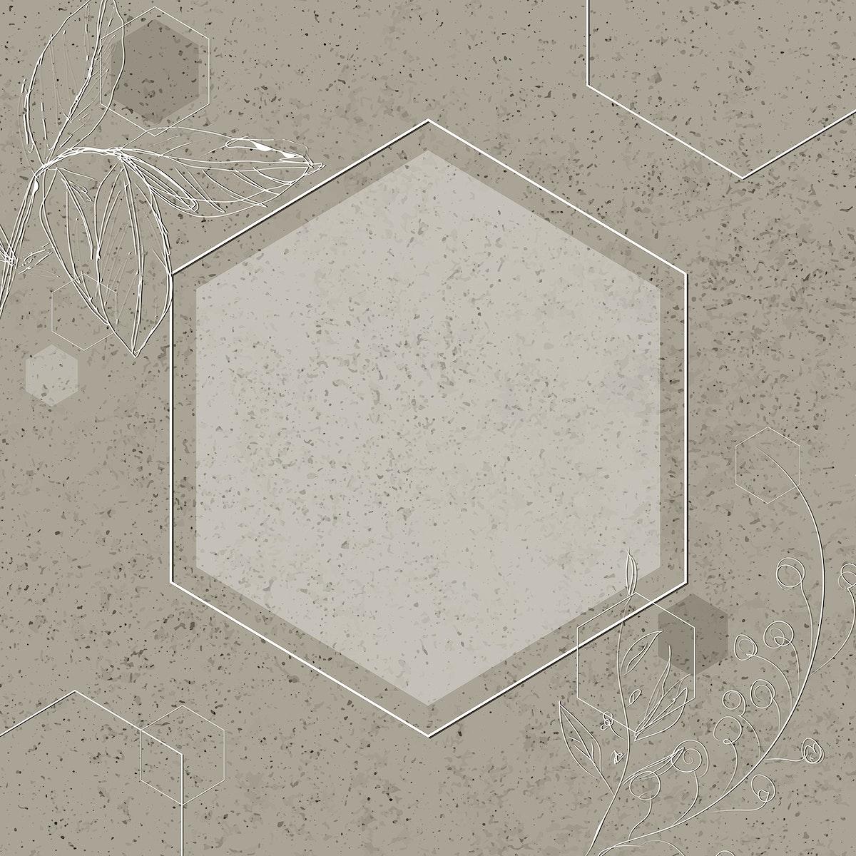 Gray hexagon frame design vector