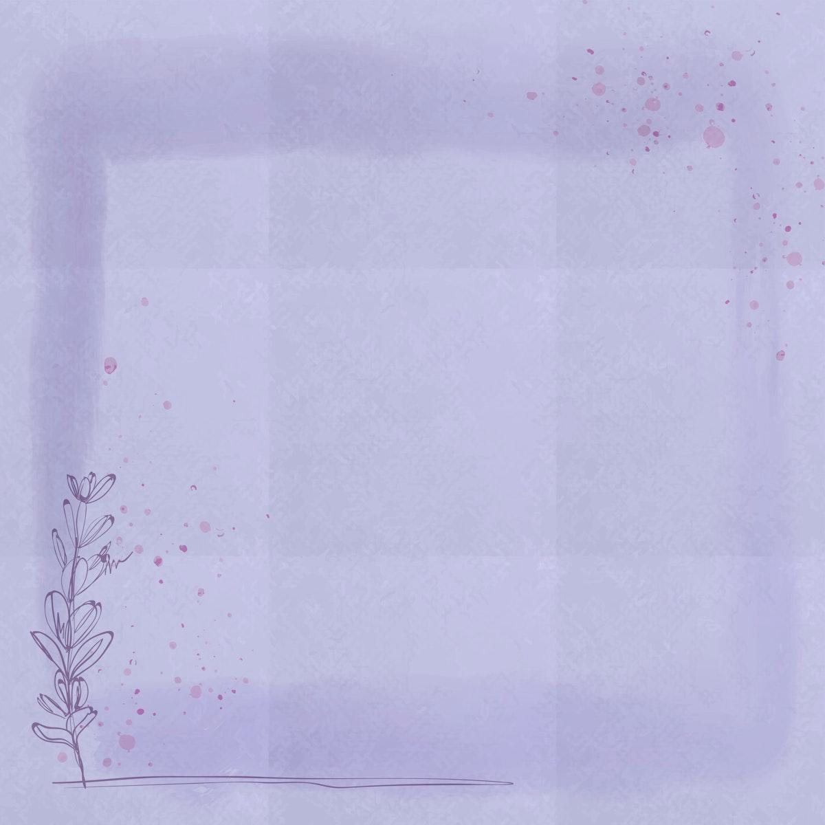 Purple floral square frame vector