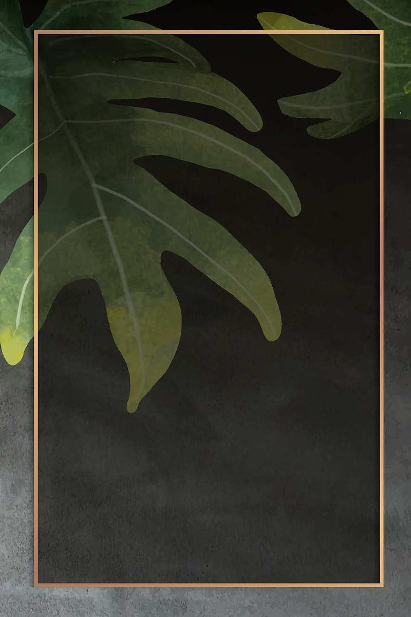 Gold frame with philodendron radiatum leaf pattern on grunge black background vector