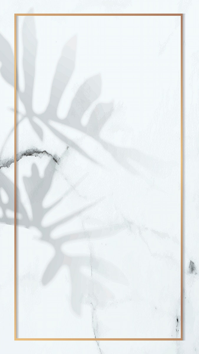Gold frame with philodendron radiatum leaf pattern on white marble mobile phone wallpaper vector