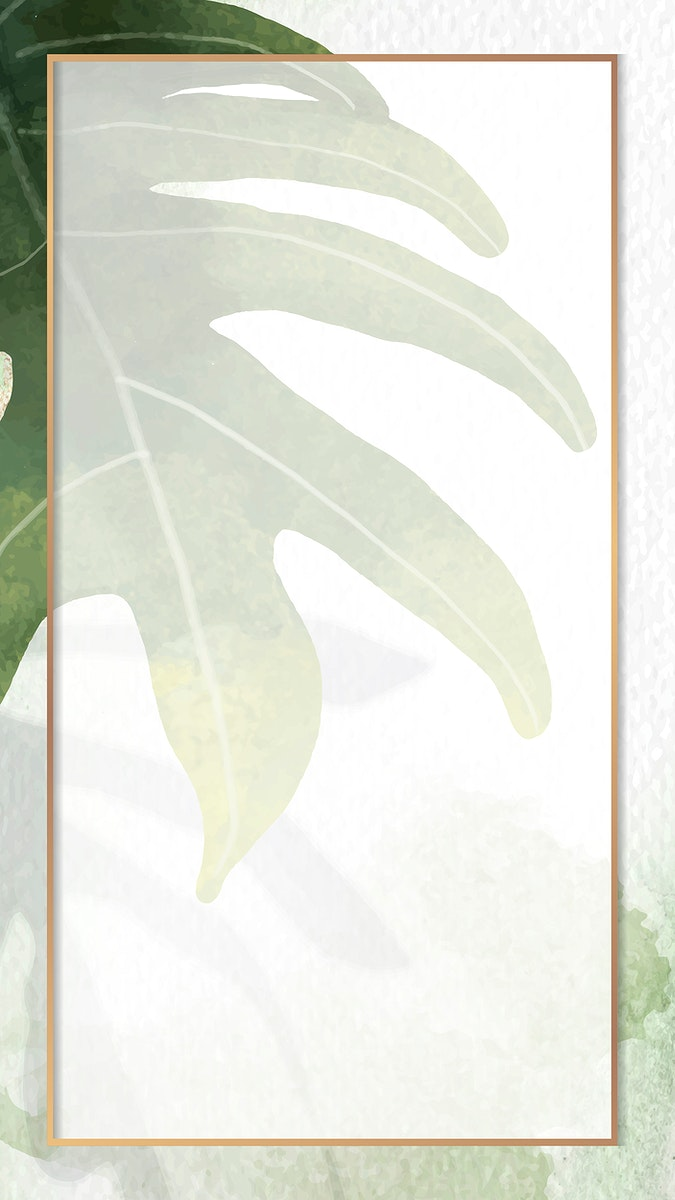 Gold frame with philodendron radiatum leaf pattern on white mobile phone wallpaper vector