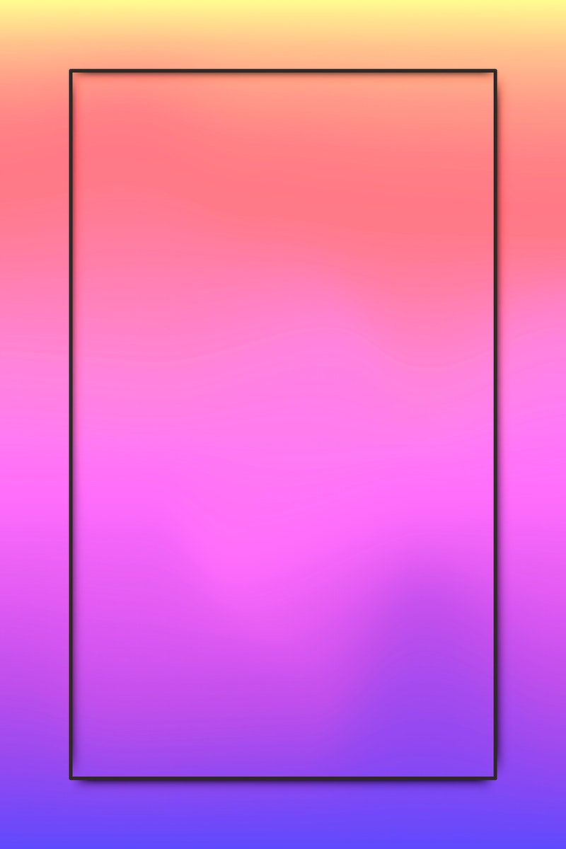 Black frame on pink and purple holographic pattern background vector