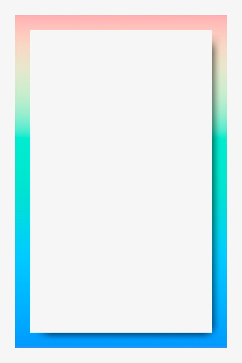 Pastel blue and green holographic pattern frame vector
