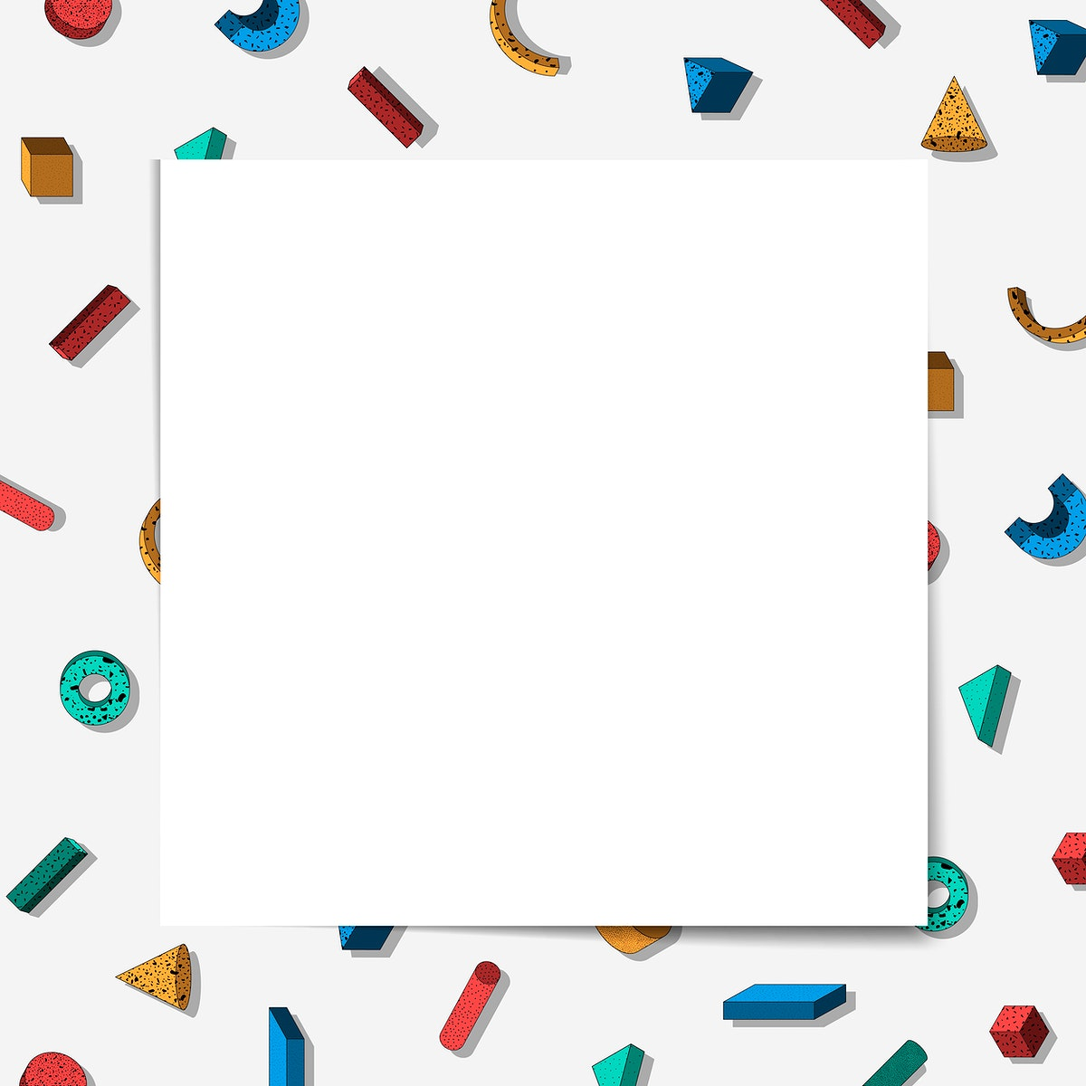 Colorful Memphis pattern frame vector