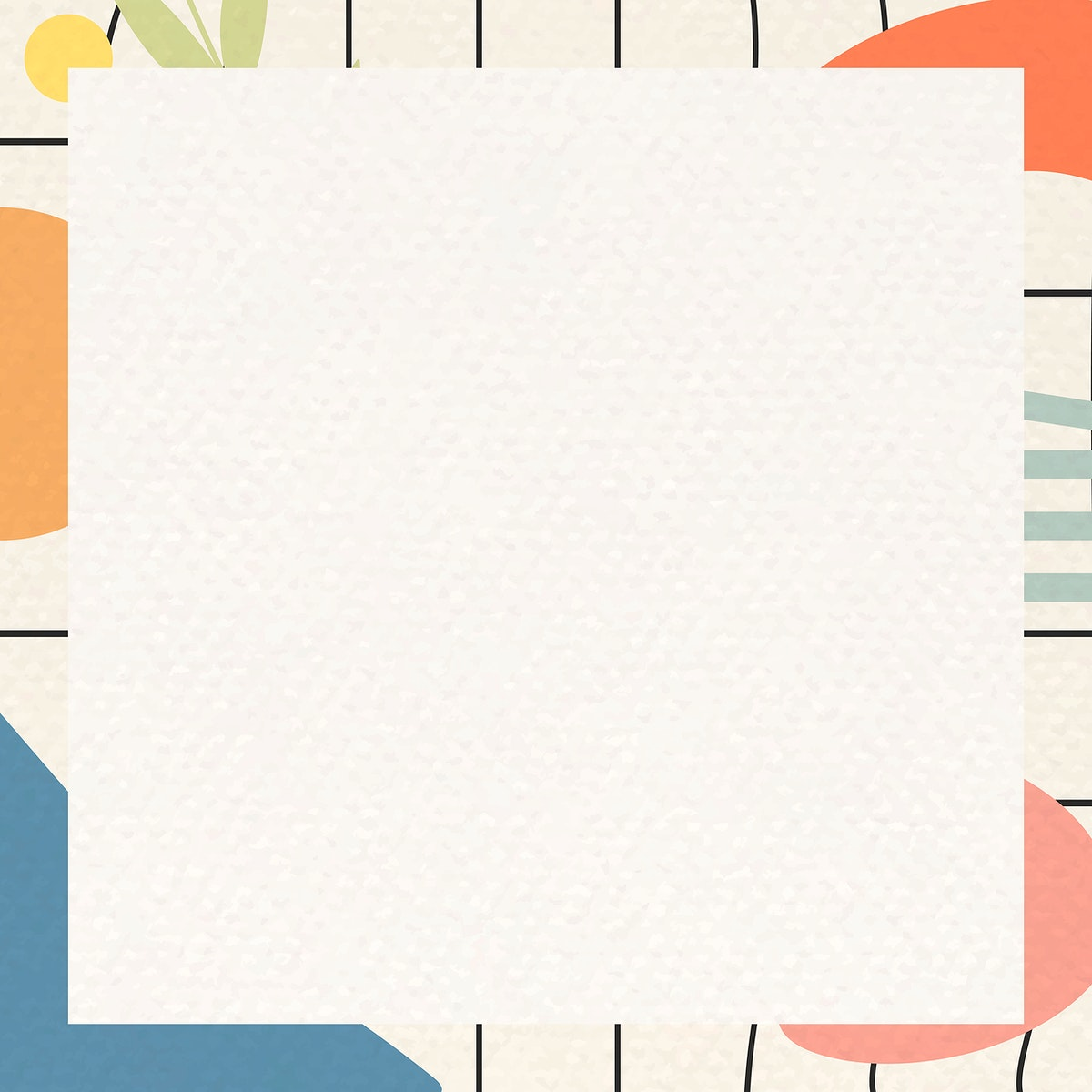 Abstract botanical frame template vector