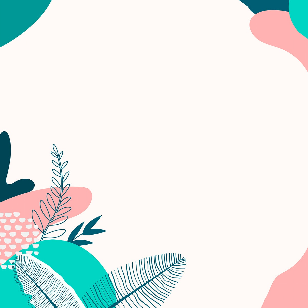 Beige and green abstract botanical patterned background vector