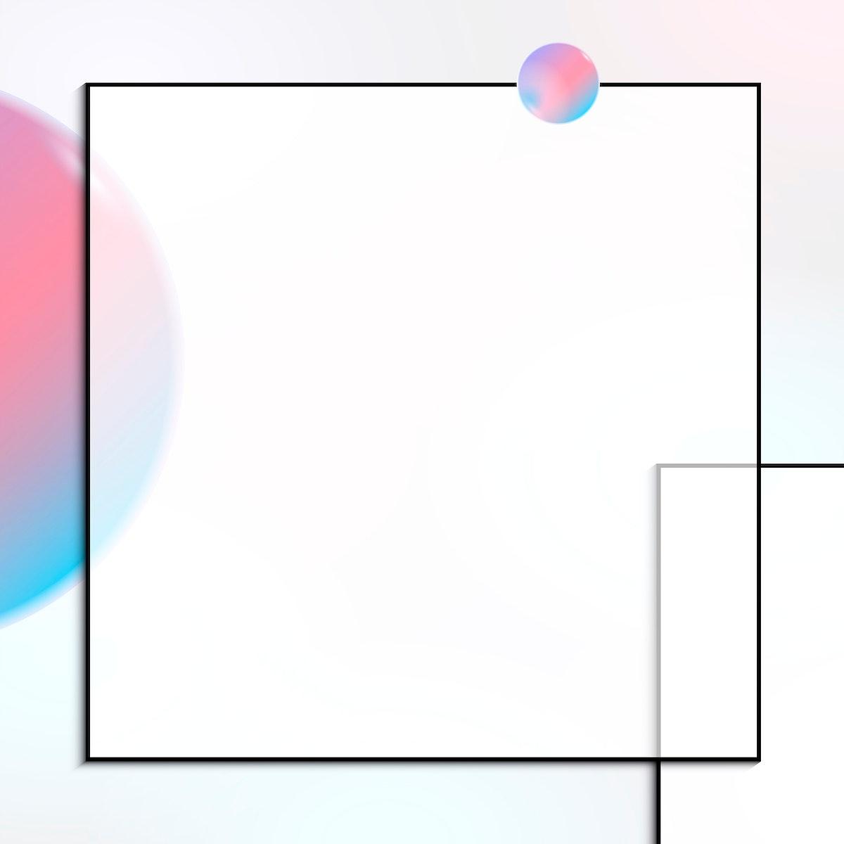 Pink and blue square frame design vector