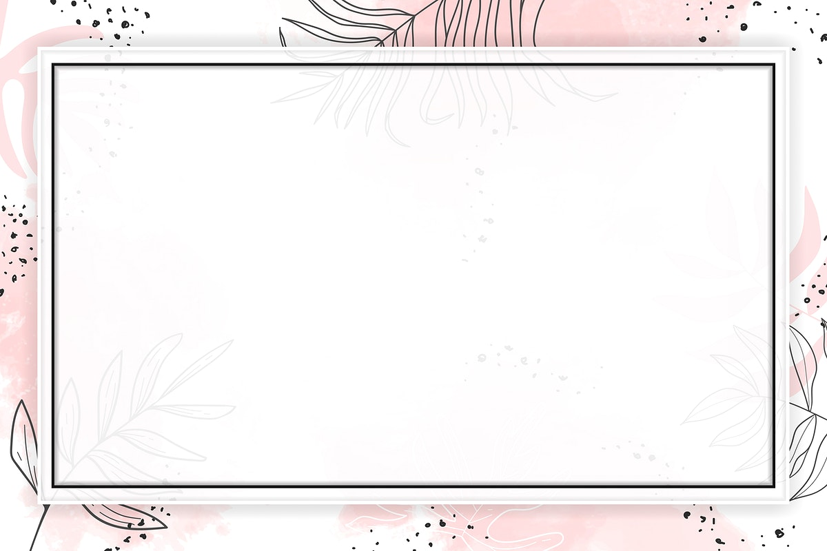 Pink rectangle watercolor frame vector