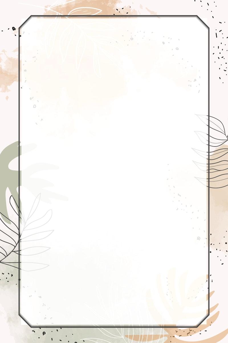 Beige rectangle watercolor frame vector