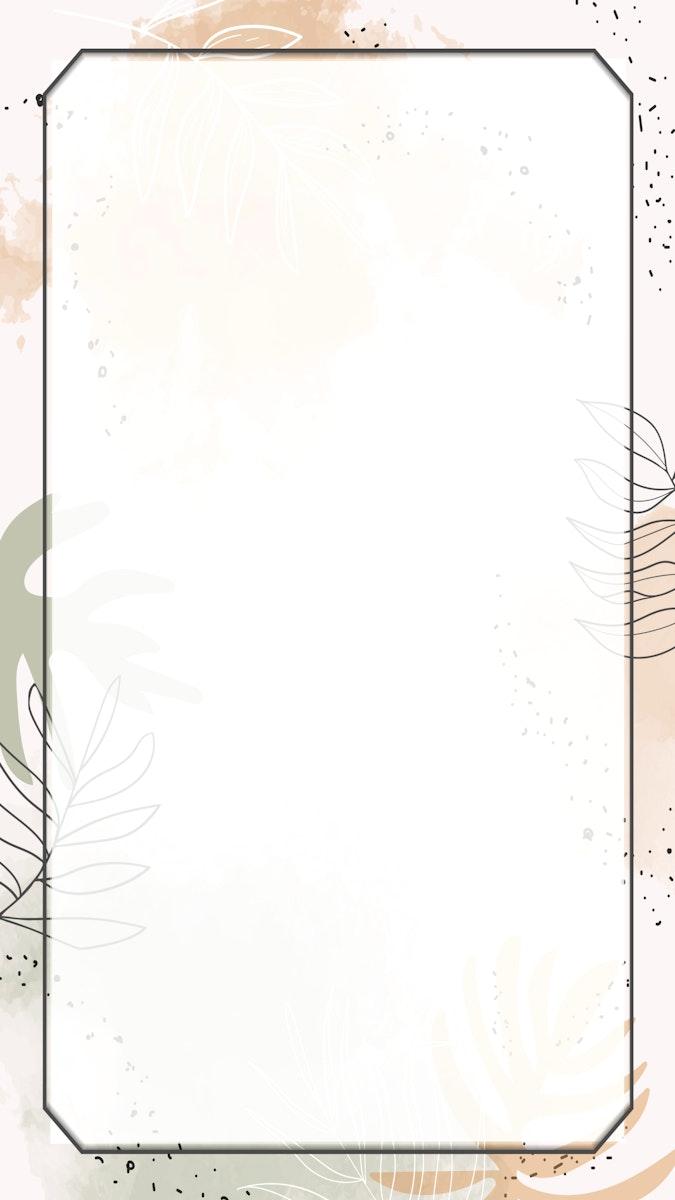 Beige rectangle watercolor frame mobile phone wallpaper vector