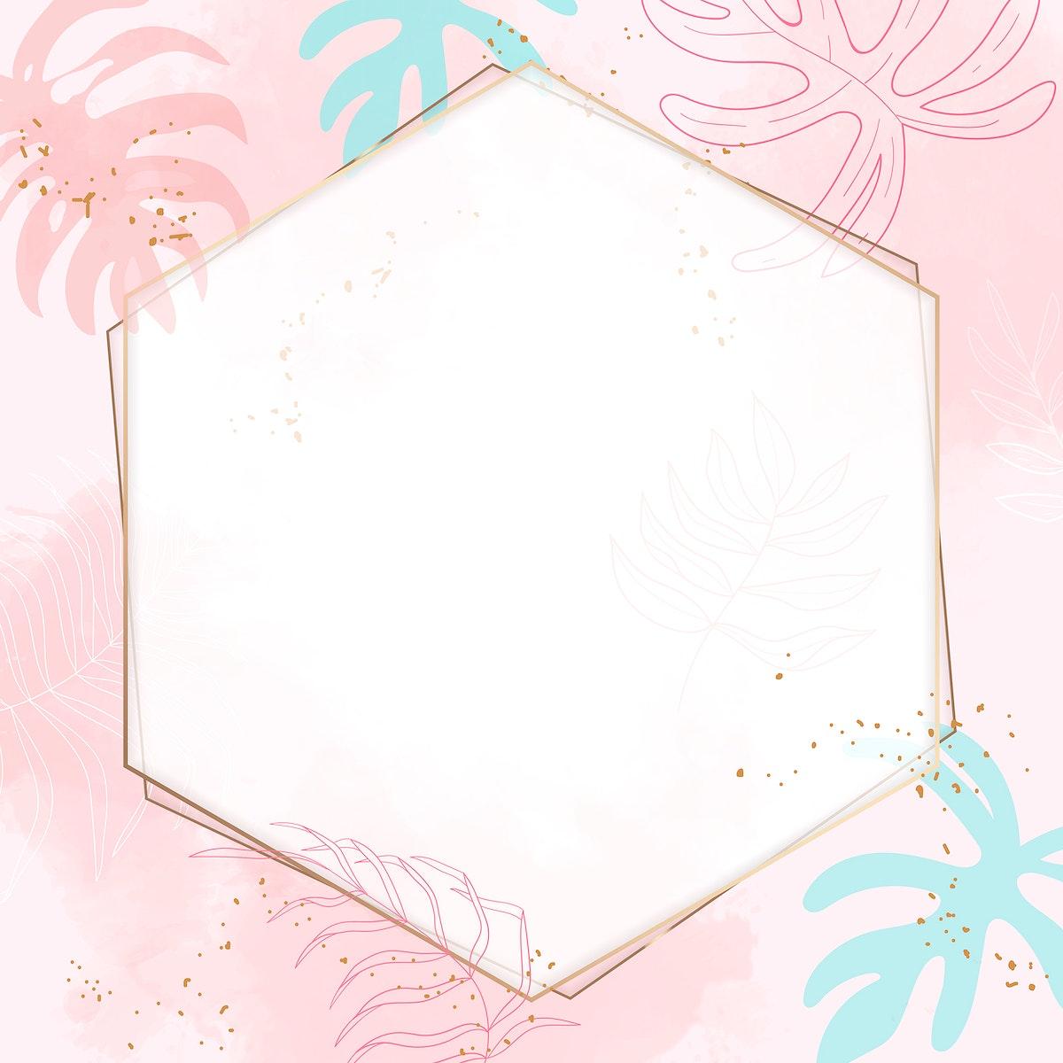 Pink hexagon watercolor frame vector
