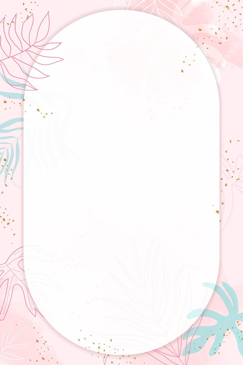 Pink oval watercolor frame vector
