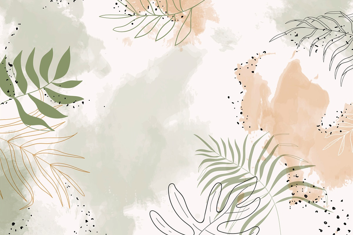 Beige leafy watercolor background vector