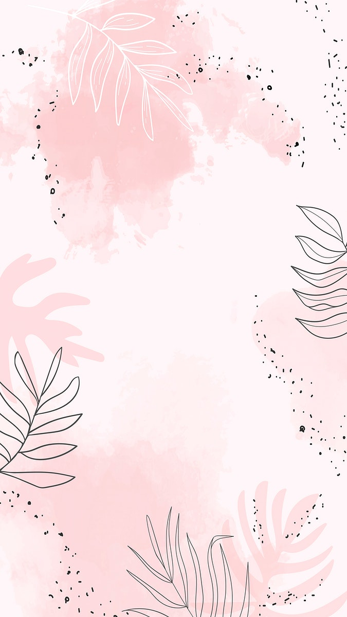 Pink leafy watercolor mobile phone wallpaper vector