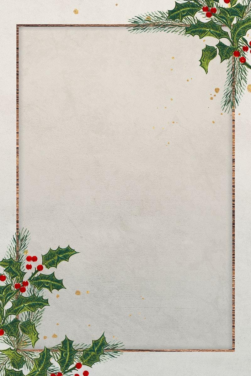 Blank festive rectangular christmas frame vector